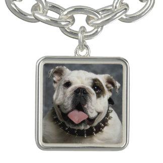 English Bulldog Portrait Square Charm Bracelet