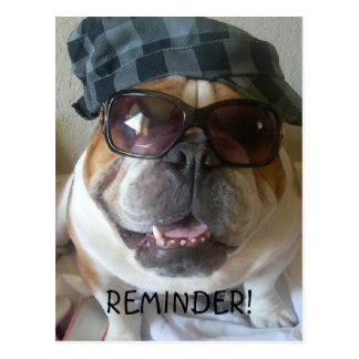 English Bulldog postcard reminder
