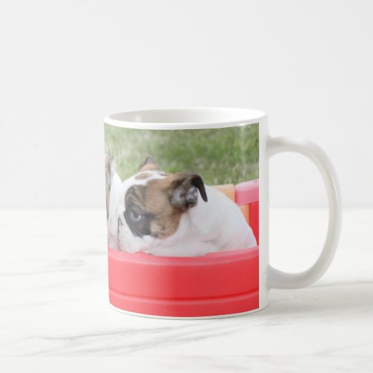 English Bulldog Puppies in a Wagon Coffee Mug