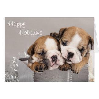 English Bulldog puppy and gifts Card