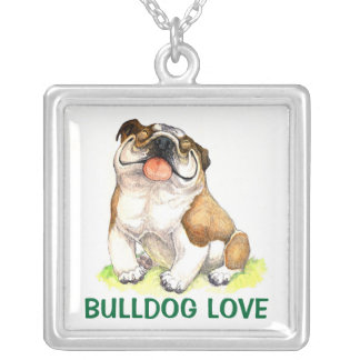English Bulldog Puppy Dog Cartoon Love Silver Plated Necklace