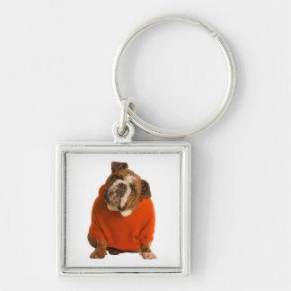 English Bulldog Puppy Dog Wearing Sweater Keychain