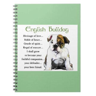 English Bulldog Puppy Heritage of Love Spiral Notebook