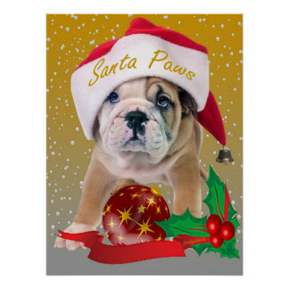 English bulldog puppy in Santa Hat Print