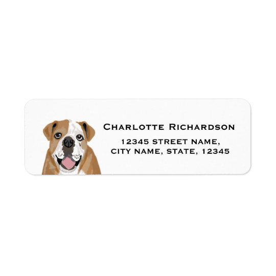 english bulldog return address label return