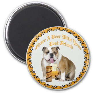 English Bulldog Shares Beer 6 Cm Round Magnet