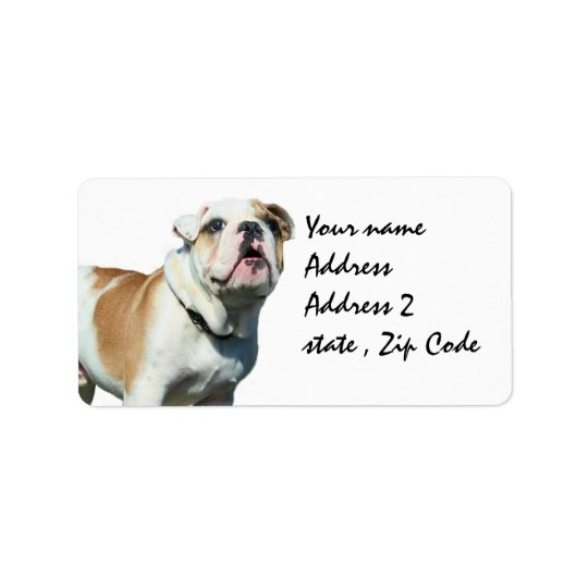 English bulldog shipping labels