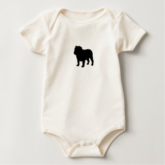 English Bulldog Silhouette Baby Bodysuit