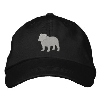 English Bulldog Silhouette Embroidered Hat