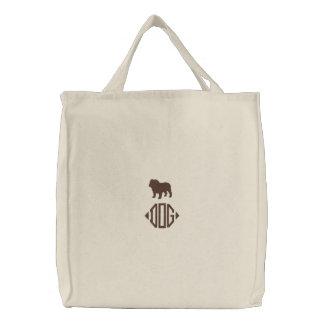 English Bulldog Silhouette with Custom Monogram Embroidered Tote Bag