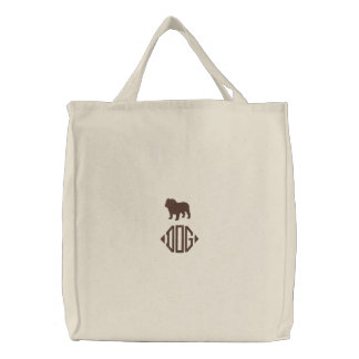 English Bulldog Silhouette with Custom Monogram Embroidered Tote Bag