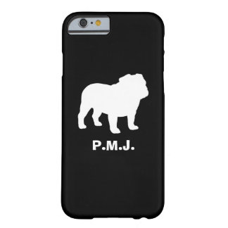 English Bulldog Silhouette with Custom Text Barely There iPhone 6 Case