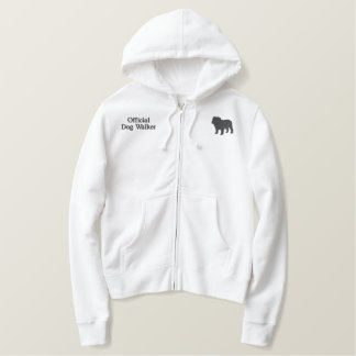 English Bulldog Silhouette with Custom Text Embroidered Hoodie