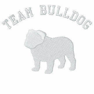 English Bulldog Silhouette with Customizable Text Embroidered Polo Shirts
