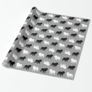 English Bulldog Silhouettes Pattern Wrapping Paper