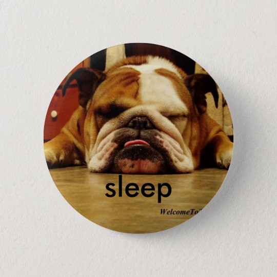 english-bulldog, sleep 6 cm round badge
