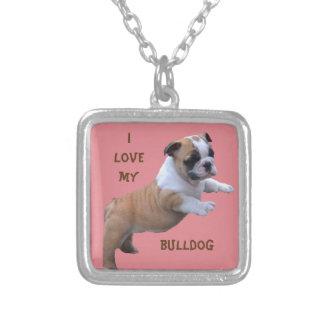 English Bulldog Square Pendant Necklace