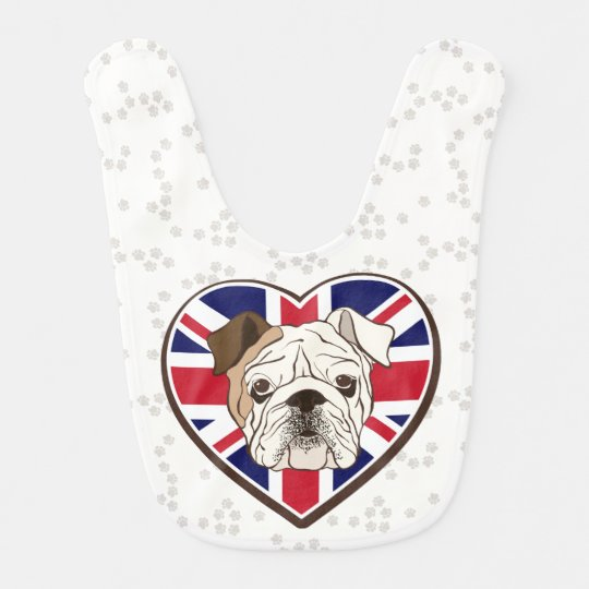 English Bulldog & Union Jack Baby Bib