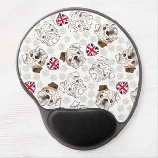 English Bulldog & Union Jack Hearts Gel Mousepad