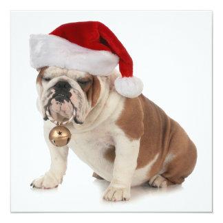 English Bulldog Wearing Santa Hat Card