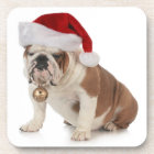 English Bulldog Wearing Santa Hat Coaster