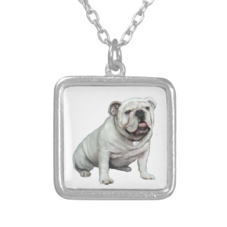 English Bulldog - White 1 Silver Plated Necklace