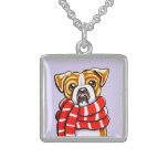 English Bulldog Winter Scarf Custom Color Necklace