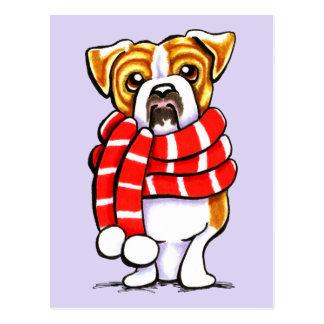 English Bulldog Winter Scarf Custom Color Postcard
