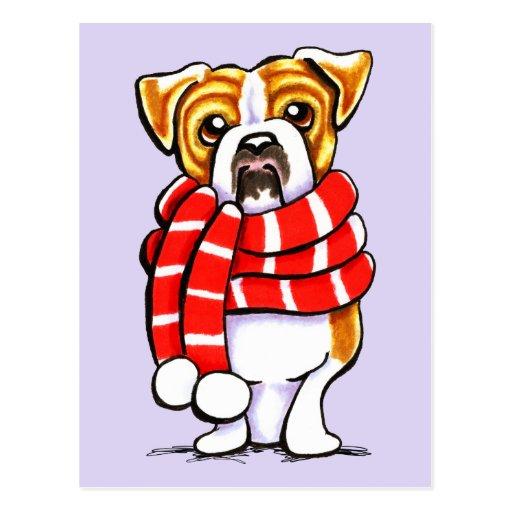 English Bulldog Winter Scarf Custom Color Post Cards