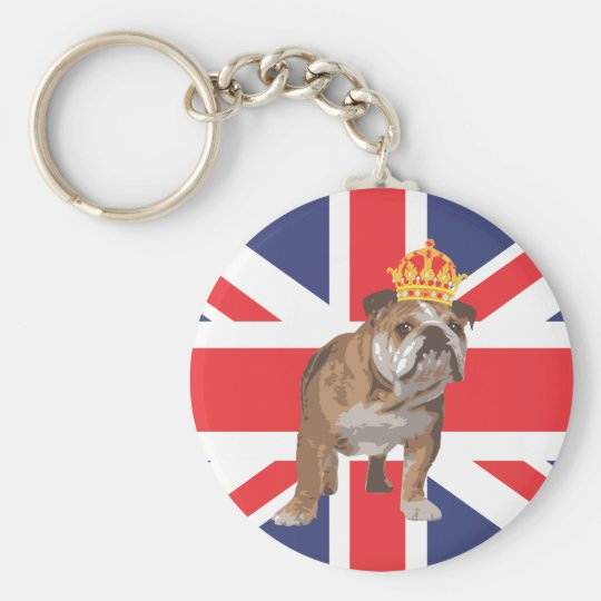 English Bulldog with Crown and Union Jack Basic Round Button Key Ring