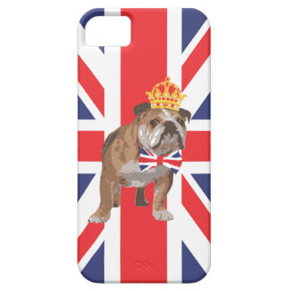 English Bulldog with Crown and Union Jack  Bow Tie Barely There iPhone 5 Case