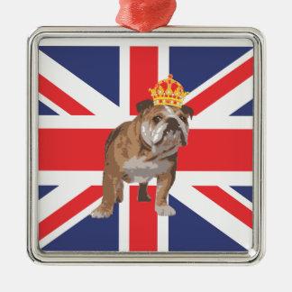 English Bulldog with Crown and Union Jack Christmas Ornament