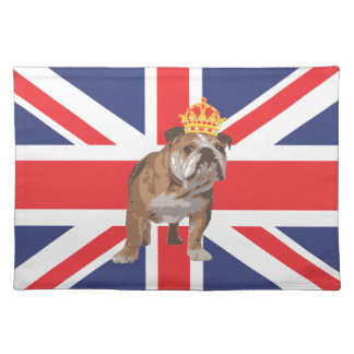 English Bulldog with Crown and Union Jack Placemat