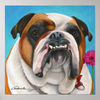 English Bulldog with Daisy Poster