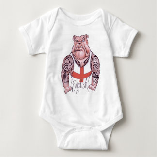 English Bulldog with Tribal Tattoo Baby Bodysuit