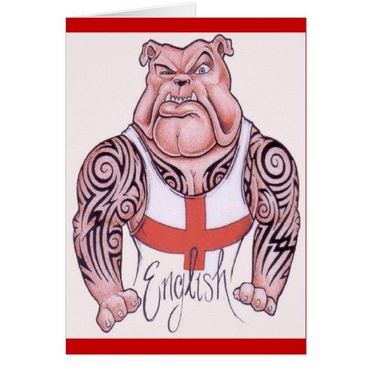 English Bulldog with Tribal Tattoo Card