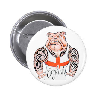 English Bulldog with Tribal Tattoo on Arms 6 Cm Round Badge
