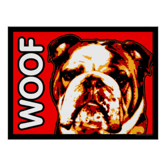 English Bulldog WOOF Poster