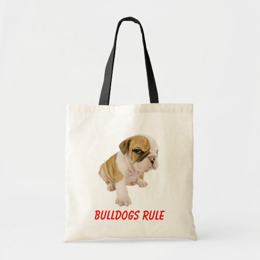 English Bulldogs Rule Puppy Dog  Love  Tote Bag Canvas Bags