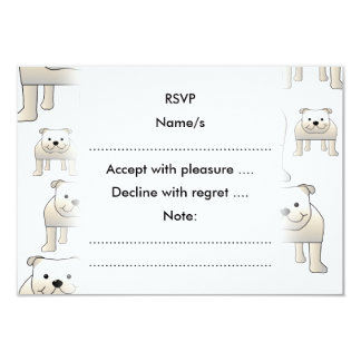 English Bulldogs, White. Dogs Pattern. 9 Cm X 13 Cm Invitation Card