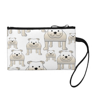 English Bulldogs, White. Dogs Pattern. Coin Purse