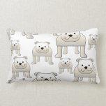 English Bulldogs, White. Dogs Pattern. Throw Pillow