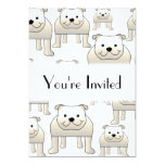 English Bulldogs, White. Dogs Pattern. 5x7 Paper Invitation Card