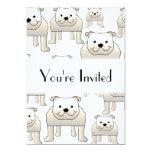 English Bulldogs, White. Dogs Pattern. Invites