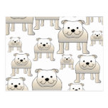 English Bulldogs, White. Dogs Pattern. Postcard