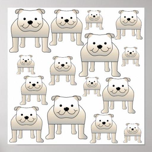 English Bulldogs, White. Dogs Pattern. Poster
