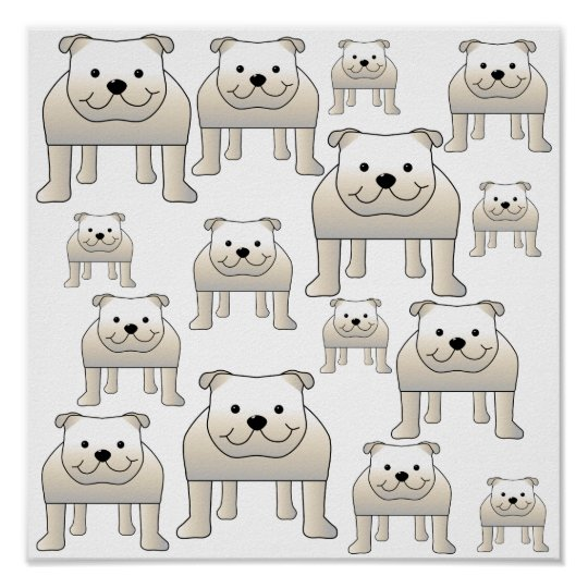 English Bulldogs, White. Dogs Pattern. Poster