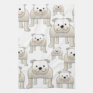 English Bulldogs, White. Dogs Pattern. Tea Towel