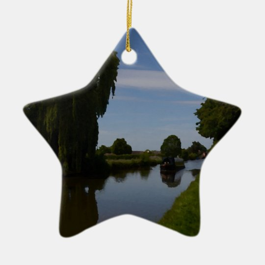 English Canal Scene Christmas Ornament