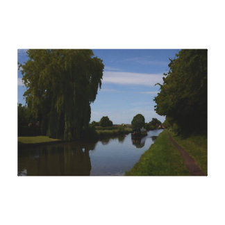 English Canal Scene Gallery Wrapped Canvas
